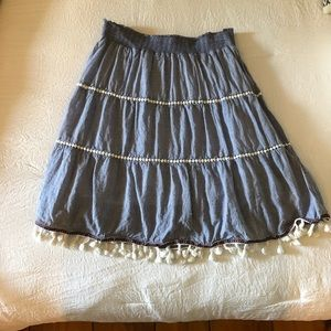BoHo Chambray tiered skirt with tassels Sz. M